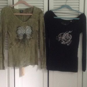 Guess Tops - 2  long sleeve tees with stones size S & Xs